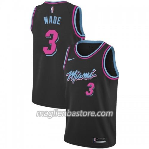 designer fashion 12641 0996d Maglia NBA Miami Heat Dwyane Wade 3 2018-19 Nike City Edition Nero Swingman  - Uomo